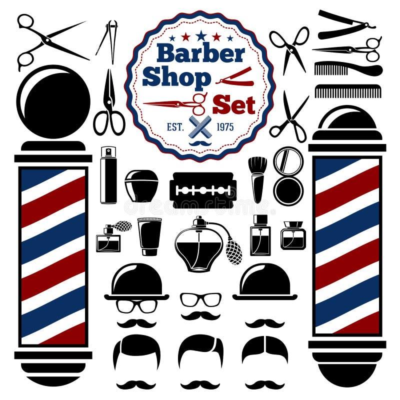Wektorowi fryzjera męskiego sklepu akcesoria ustawiający Z sylwetkami instrumenty, słup, fryzury ilustracyjny lelui czerwieni sty ilustracji