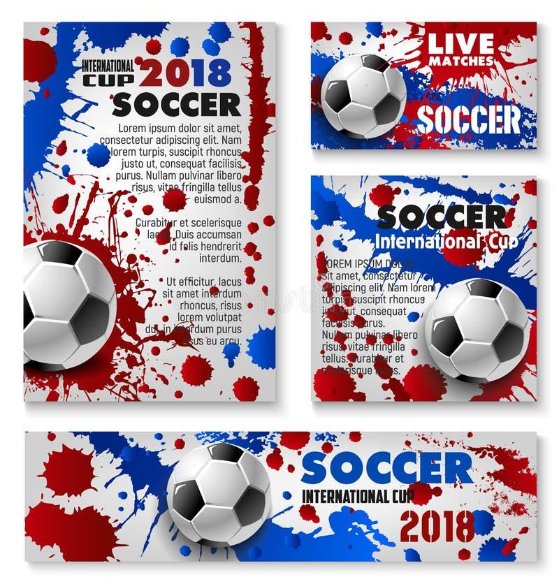 Wektorowi futbolowi filiżanki piłki nożnej drużyny tła plakaty royalty ilustracja