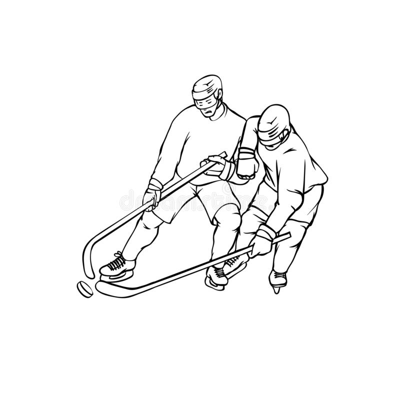 Wektorowi gracz w hokeja w sporta mundurze Roczników sportsmans ruch z hokejowym kijem Czarna biała kontur ilustracja ilustracji