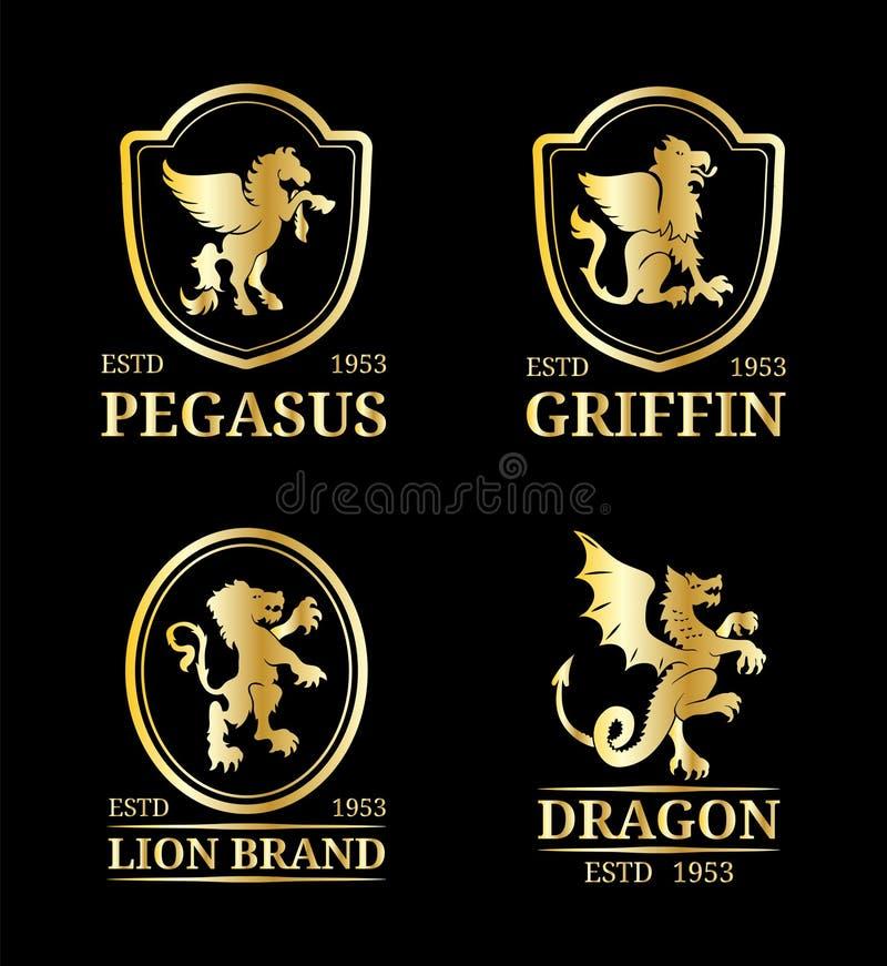 Wektorowi grzebieni monogramów szablony Luksusowy Pegasus, smok, lew, gryfa projekt Pełen wdzięku zwierzę sylwetki ilustracyjne royalty ilustracja