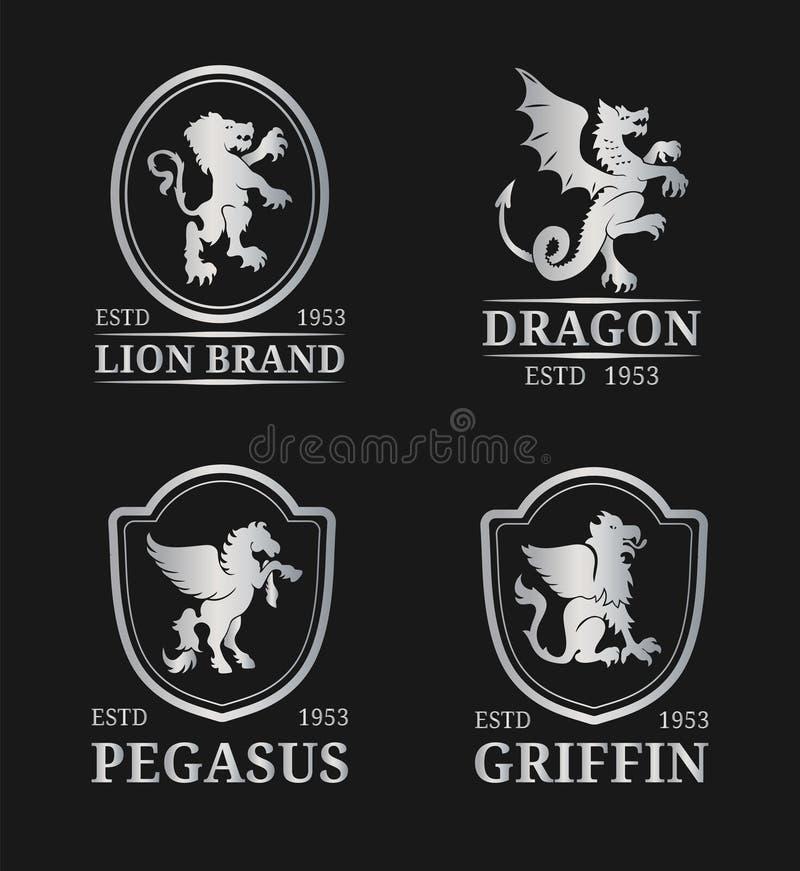 Wektorowi grzebienia monograma szablony Luksusowy Pegasus, smok, lew, gryfa projekt Pełen wdzięku zwierzę sylwetek ilustracje royalty ilustracja