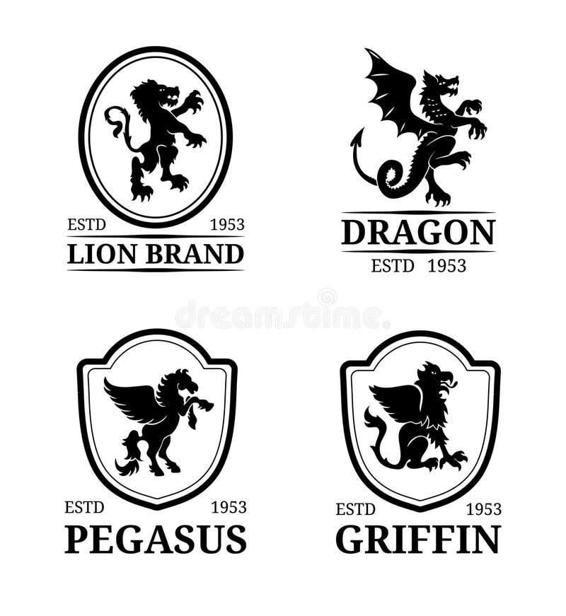 Wektorowi grzebienia monograma szablony Luksusowy Pegasus, smok, lew, gryfa projekt Pełen wdzięku zwierzę sylwetek ilustracje ilustracja wektor