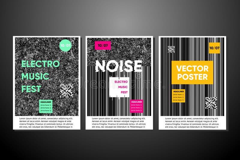 Wektorowi hałasów plakaty ustawiający z hałasu tłem Electro festiwalu muzyki zaproszenie, usterki tekstura Modne pokrywy ilustracja wektor