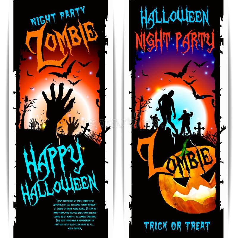 Wektorowi Halloweenowi żywego trupu przyjęcia sztandary ilustracja wektor