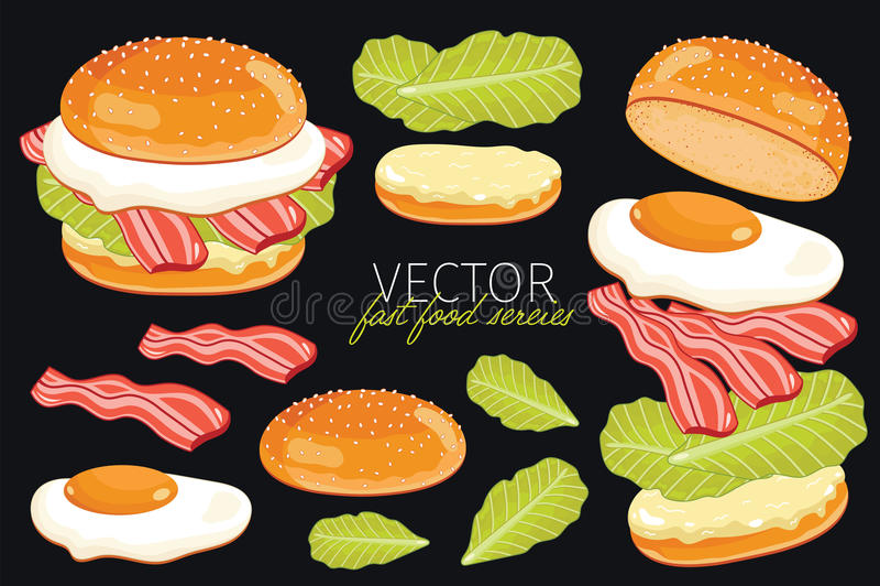 Wektorowi hamburgery na czarnym tle royalty ilustracja