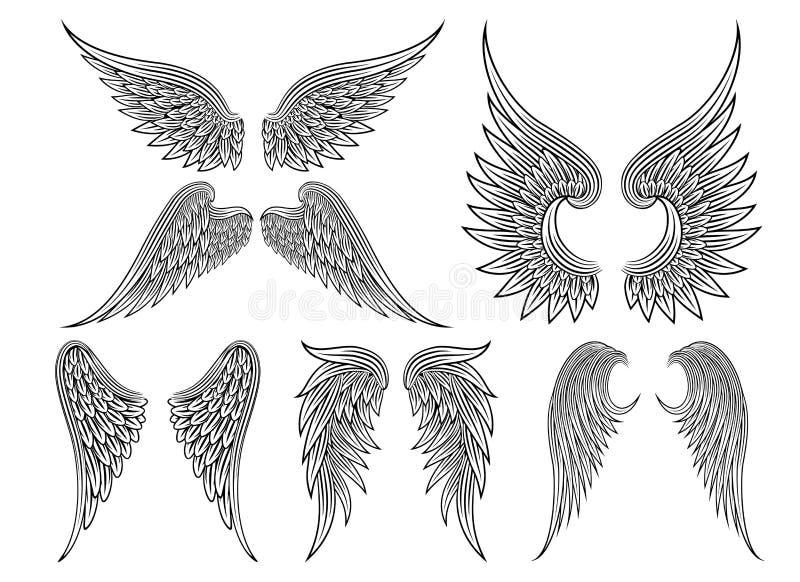 Wektorowi heraldyczni skrzydła lub anioł royalty ilustracja