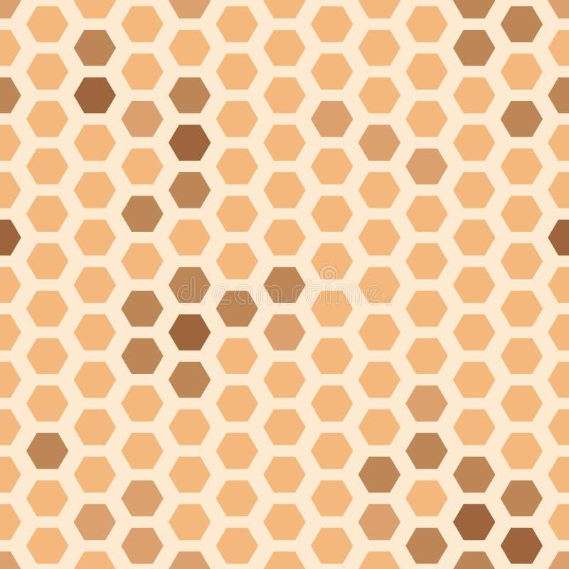 Wektorowi HoneyCombs Abstrakcjonistyczni w miodowym koloru żółtego i brązu bezszwowym deseniowym tle ilustracji