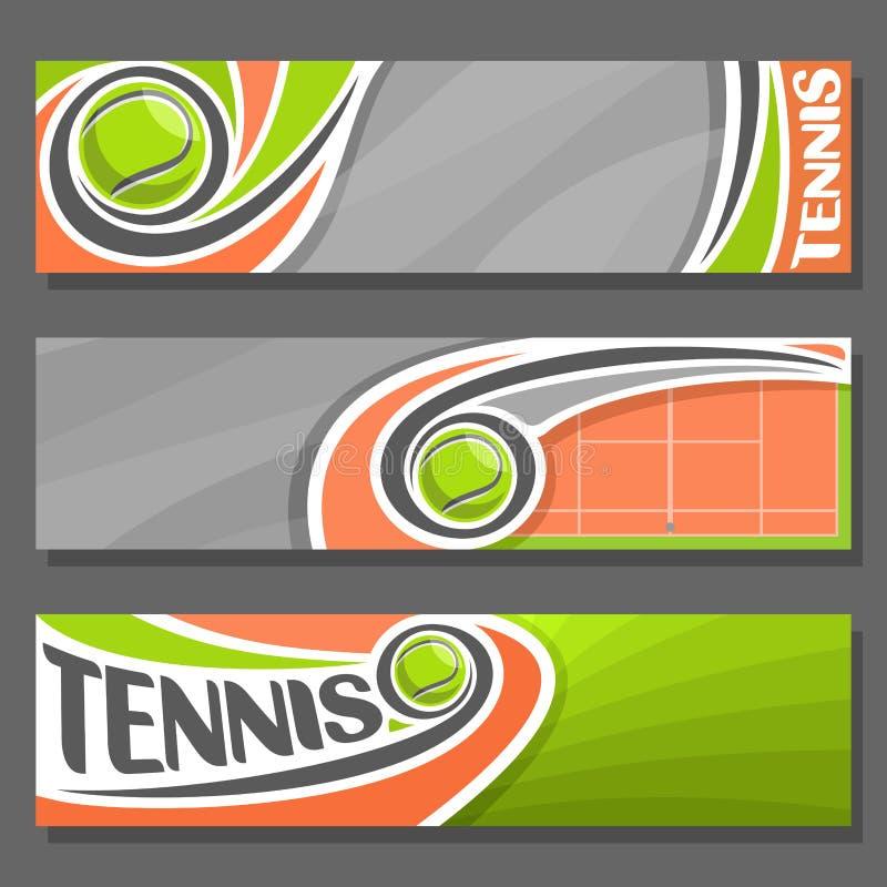 Wektorowi horyzontalni sztandary dla tenisa ilustracja wektor