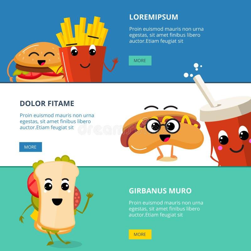 Wektorowi horyzontalni sztandary ustawiający z kreskówka fasta food ślicznymi charakterami ilustracja wektor