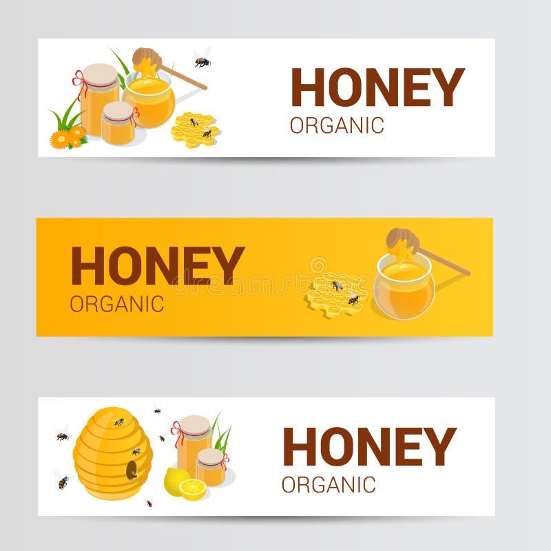 Wektorowi horyzontalni sztandary ustawiający z słodkim miodem, honeycomb i słojem naturalny kwiatu miód odizolowywający na bielu, ilustracji