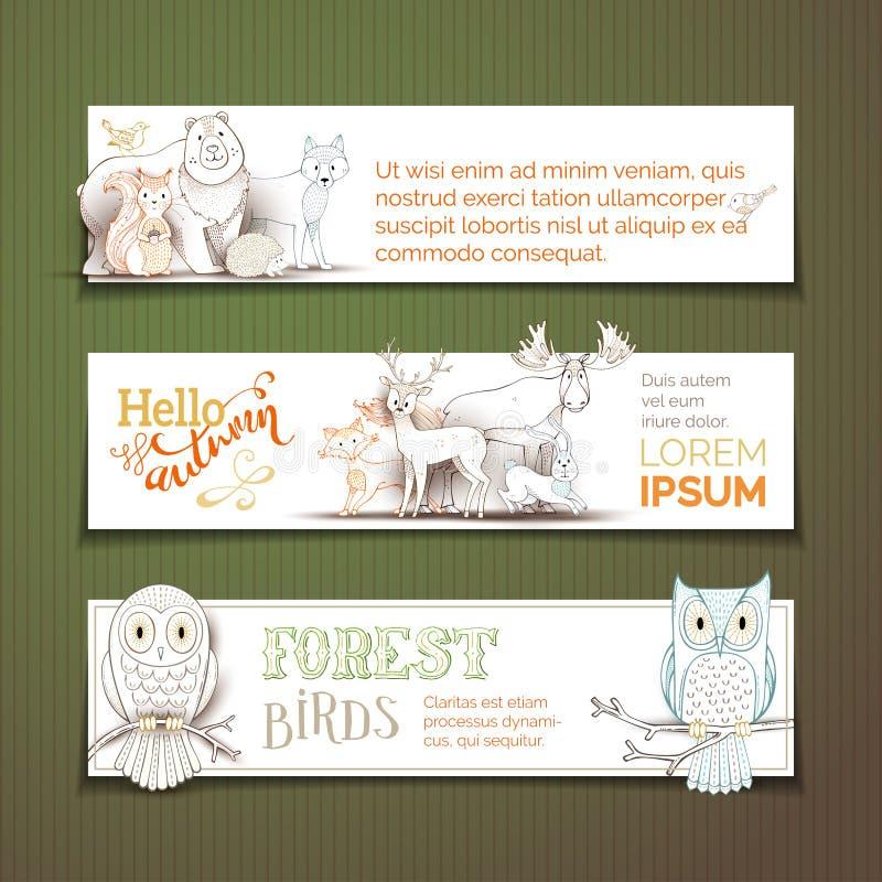 Wektorowi horyzontalni zwierzęcy sztandary ustawiający ilustracji