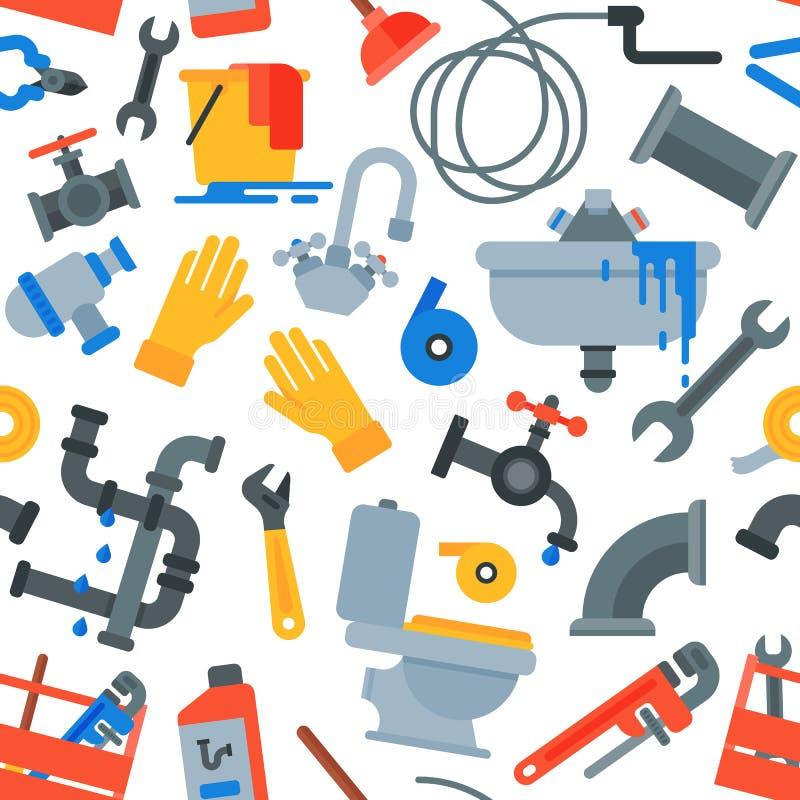 Wektorowi hydraulików narzędzia naprawia drymby z naprawa rurociąg i narzędzi wyposażenia ilustracyjnym ustawiającym repairman pi royalty ilustracja