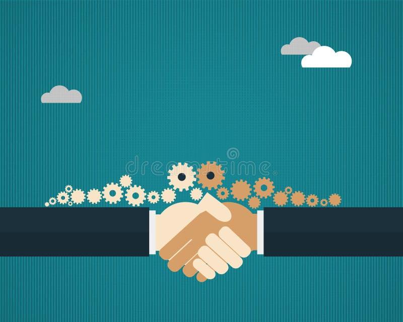 Wektorowi ilustraci dwa biznesmeni trząść ręki ilustracja wektor