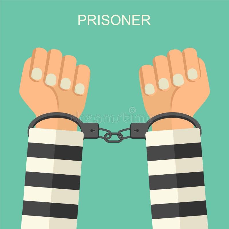 Wektorowi ilustracja kajdanki na rękach więzień Aresztujący kryminalny mężczyzna w kajdanki mieszkania stylu ilustraci Przestępst ilustracji
