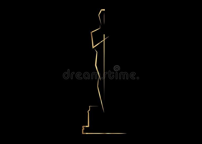 Wektorowi ilustracyjni abstrakcjonistyczni złociści ludzie logo ikony, czarny tło ilustracja wektor