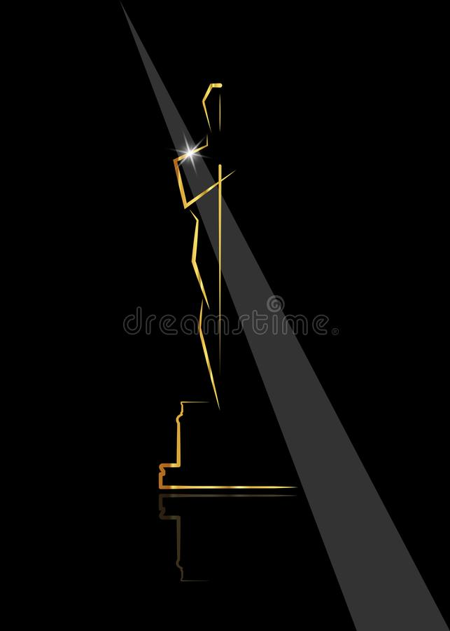 Wektorowi ilustracyjni abstrakcjonistyczni złoci ludzie logo ikony, czarny tło ilustracji