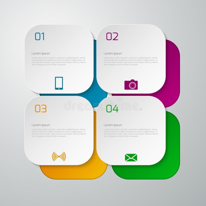 Wektorowi ilustracyjni infographics kwadraty z zaokrąglonymi kątami ilustracja wektor