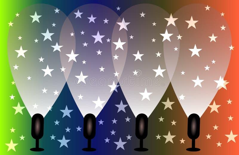 Wektorowi Ilustracyjni Magiczni światła reflektorów z Błękitnymi promieniami i rozjarzonym skutkiem ilustracji