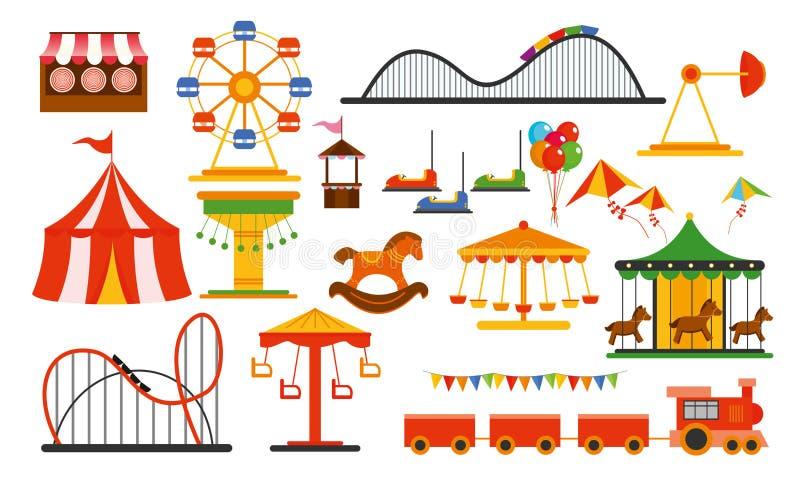 Wektorowi ilustracyjni parków rozrywki elementy na białym tle Rodzina odpoczynek w przejażdżka parku z kolorowym ferris kołem ilustracja wektor