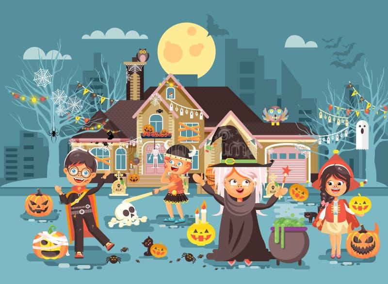 Wektorowi ilustracyjni postać z kreskówki dzieci fundy, chłopiec, dziewczyna kostiumy, galanteryjne suknie świętują wakacje royalty ilustracja