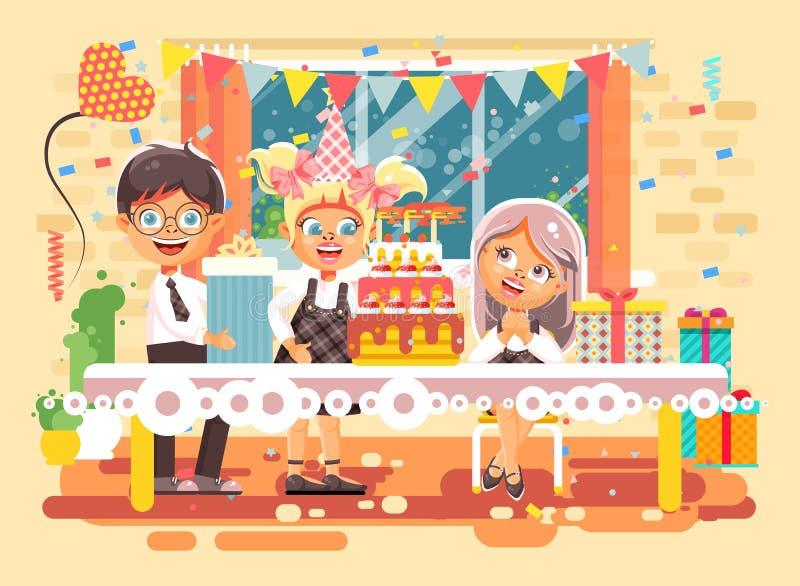 Wektorowi ilustracyjni postać z kreskówki dzieci, przyjaciele, chłopiec, dziewczyny świętują wszystkiego najlepszego z okazji uro ilustracja wektor