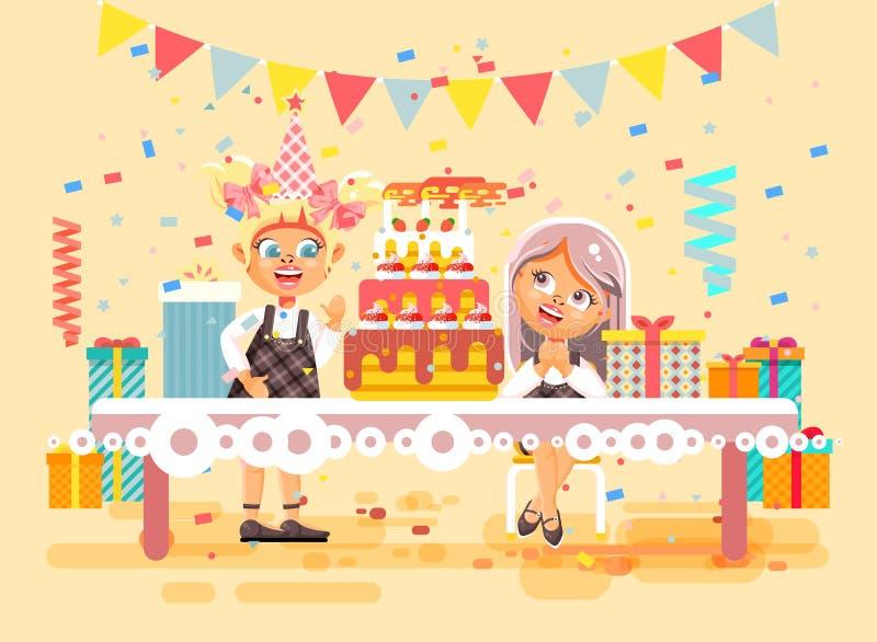 Wektorowi ilustracyjni postać z kreskówki dzieci, przyjaciele, dwa dziewczyny świętują wszystkiego najlepszego z okazji urodzin,  ilustracji
