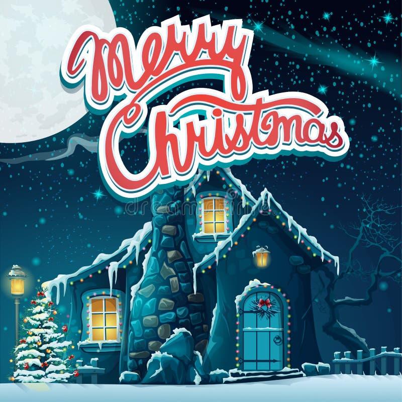 Wektorowi ilustracyjni Wesoło boże narodzenia z śnieżystym domem w t ilustracji