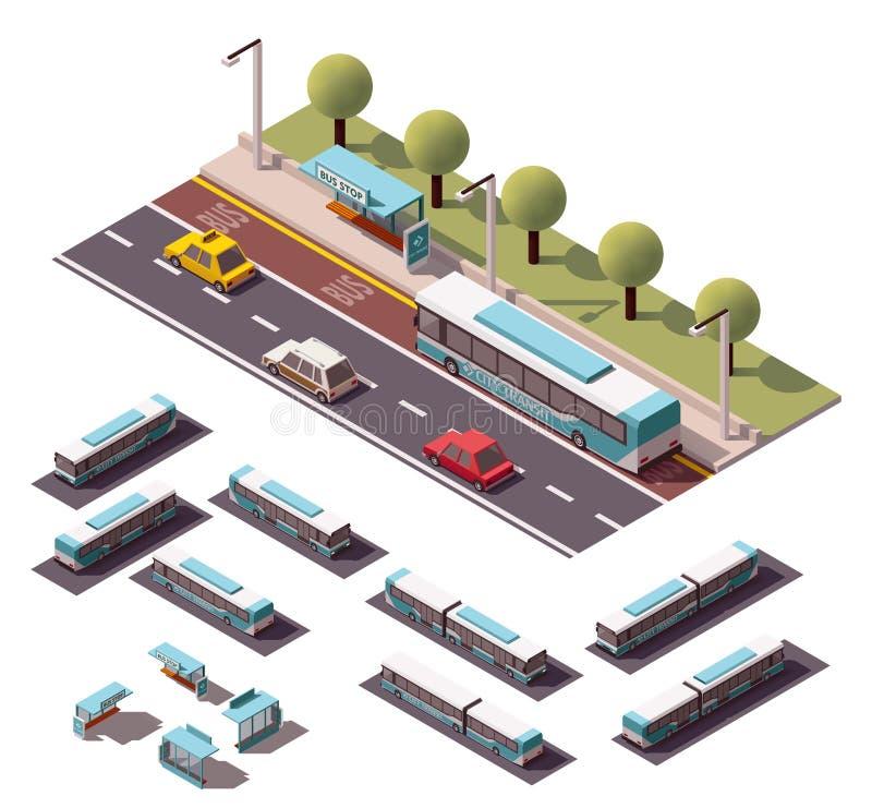 Wektorowi isometric autobusy ustawiający ilustracja wektor