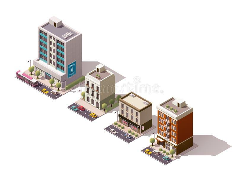 Wektorowi isometric budynki ustawiający