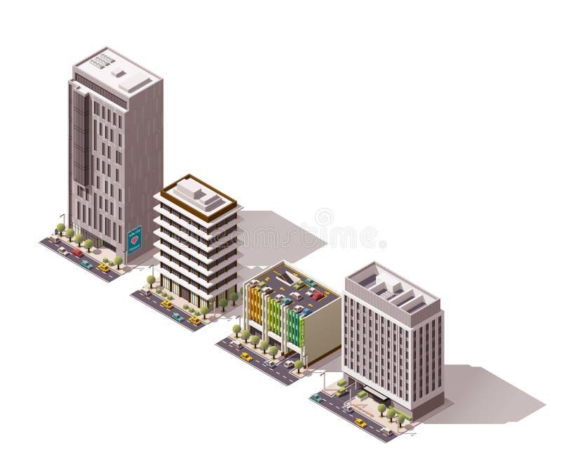 Wektorowi isometric budynki ustawiający ilustracji
