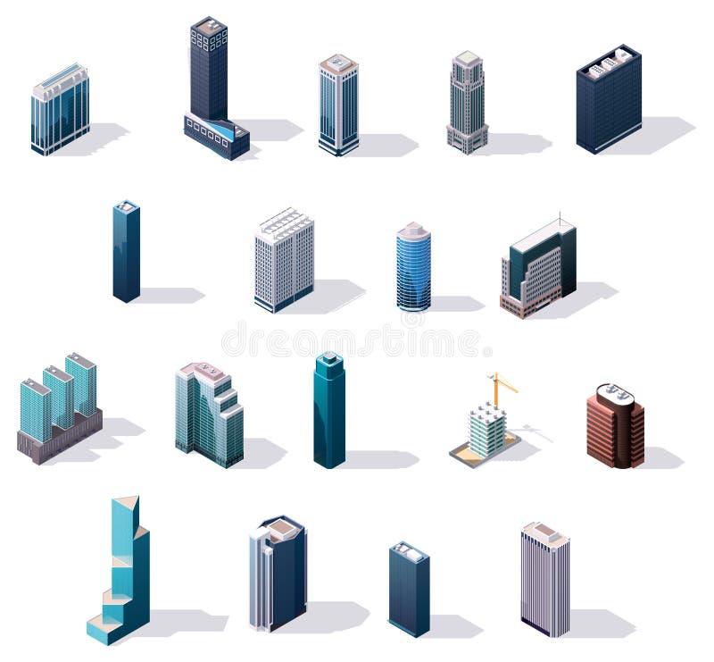 Wektorowi isometric centrum miasta budynki ustawiający ilustracja wektor