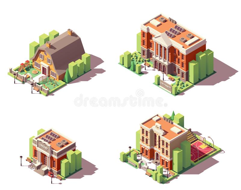 Wektorowi isometric edukacyjni budynki ustawiający ilustracji