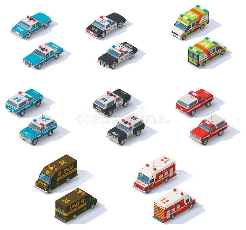 Wektorowi isometric słóżba ratownicza samochody ustawiający royalty ilustracja