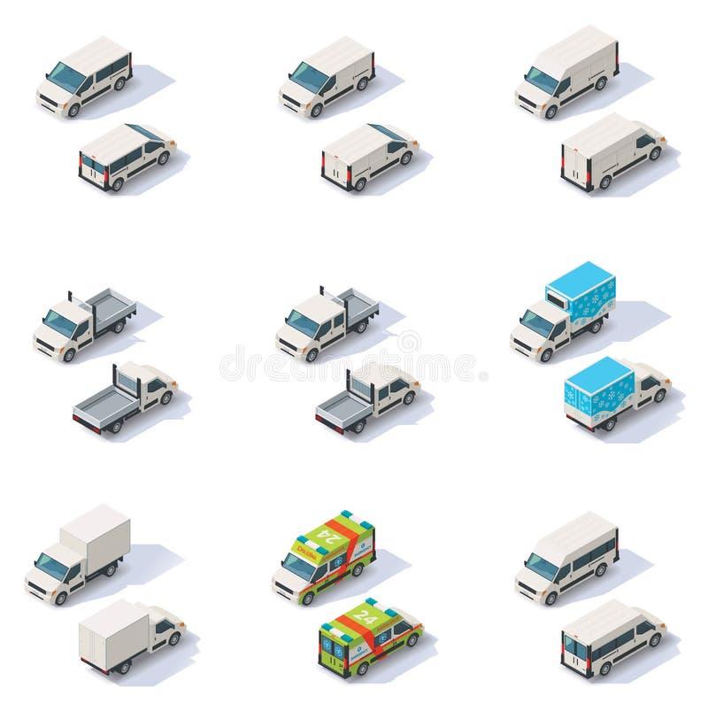 Wektorowi isometric samochody dostawczy ustawiający ilustracja wektor