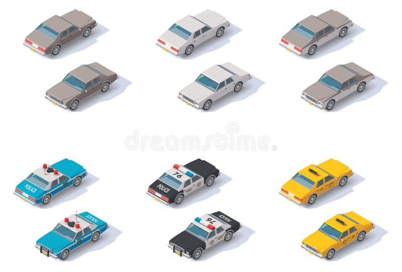 Wektorowi isometric samochody ustawiający ilustracji