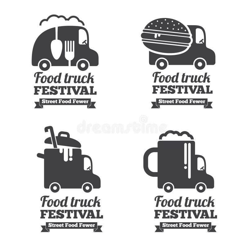 Wektorowi jedzenie ciężarówki logowie, emblematy i odznaki, royalty ilustracja