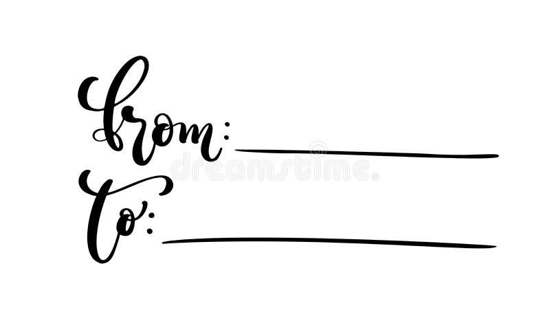 Wektorowi kaligrafii słowa dla Od etykietek i Odosobniona ręka Rysująca piszący list ilustrację Kierowy Wakacyjny nakreślenia doo ilustracji