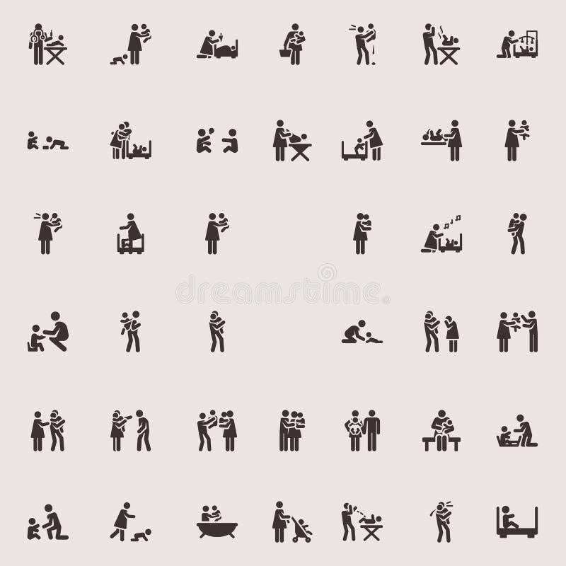 Wektorowi kij postaci dzieci i rodzina ilustracja wektor