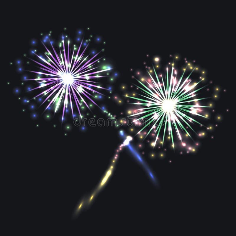 Wektorowi Kolorowi fajerwerki, Świąteczni Olśniewający elementy na Ciemnym tle royalty ilustracja