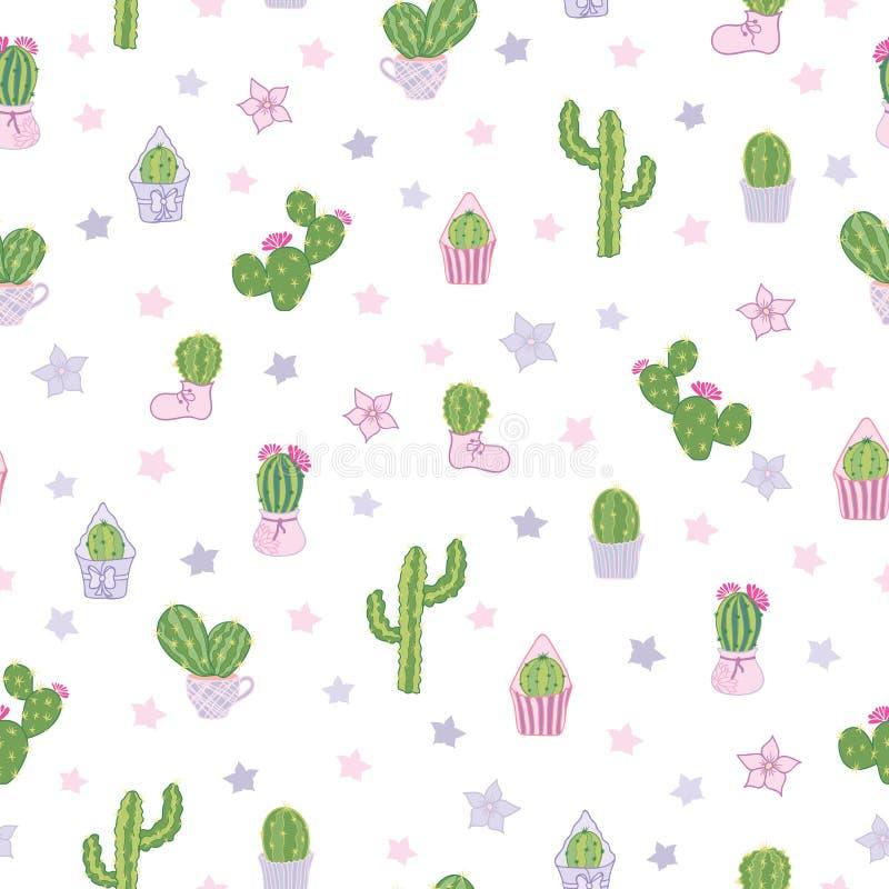 Wektorowi kolorowi i biali kaktusy bawją się bezszwowego deseniowego tło ilustracji