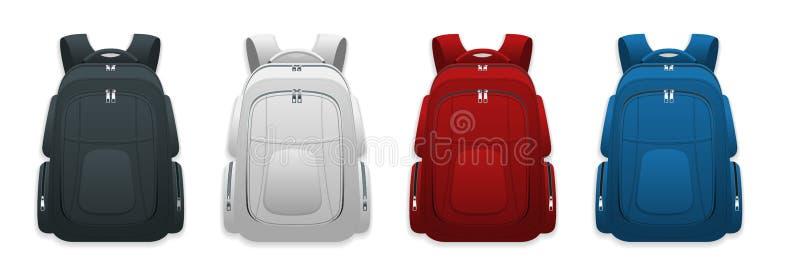 Wektorowi Kolorowi Szkolni plecaki Plecaki dla uczni, uczni, podróżników i turystów, tylna szkoły ilustracji