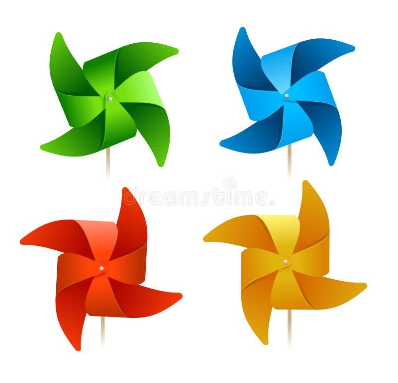 Wektorowi kolorowi wiatraczki ilustracja wektor