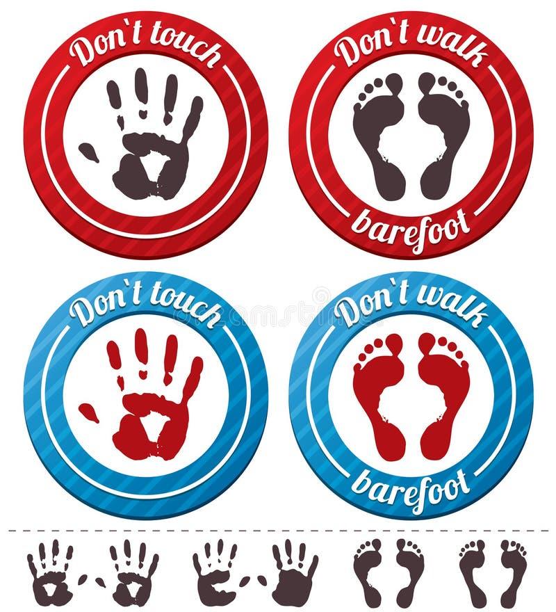 Wektorowi konceptualni cieki i ręka znaki (ustawiający). ilustracji