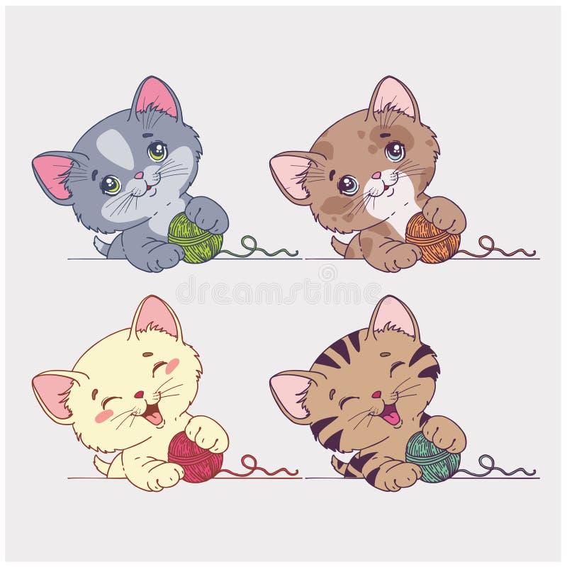 Wektorowi kreskówka koty ustawiający ilustracja wektor
