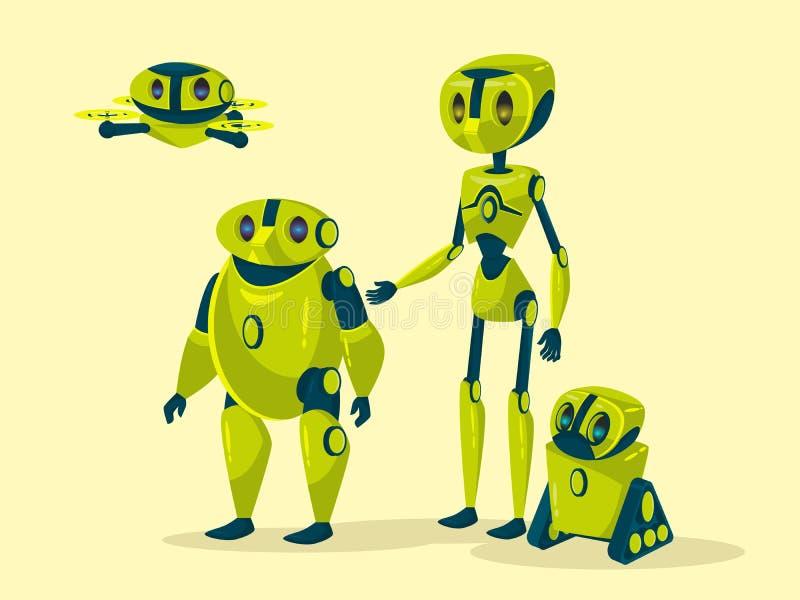 Wektorowi kreskówka robotów cyborgów androidy ustawiający ilustracji