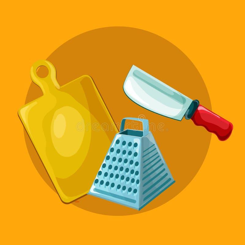 Wektorowi kuchni narzędzia ustawiający Kitchenware kolekcja Udziały kuchenni narzędzia, naczynia, cutlery ilustracja wektor