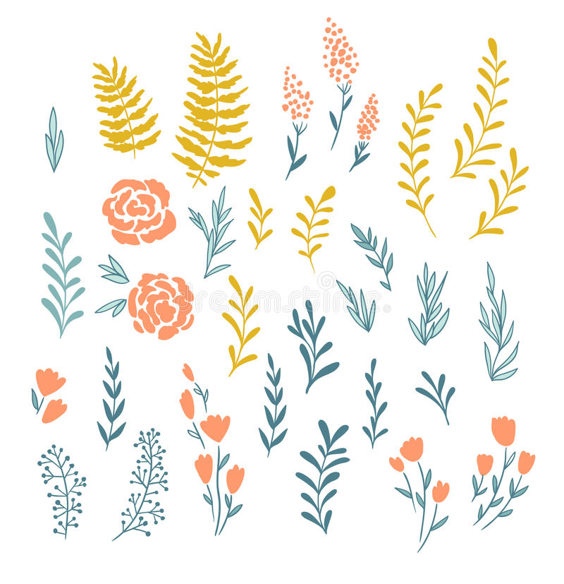 Wektorowi kwieciści elementy w doodle stylu - kwiaty i liście royalty ilustracja