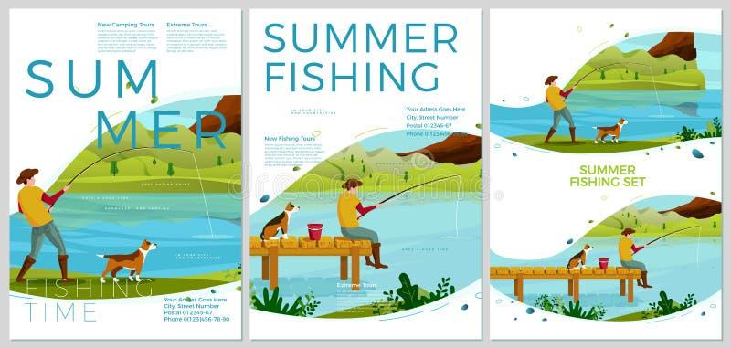 Wektorowi lato połowu plakaty ustawiają - mężczyzny z psem ilustracji