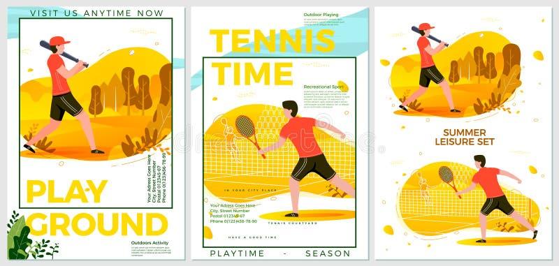 Wektorowi lato sporta plakaty ustawiający - krykiet, tenis ilustracji