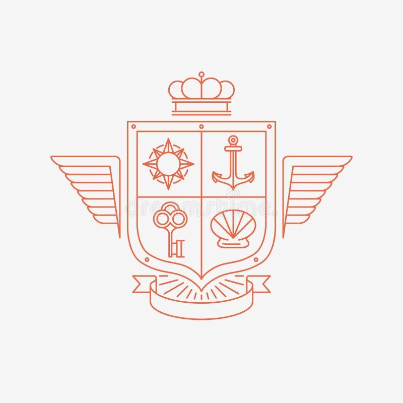 Wektorowi liniowi heraldyka symbole ilustracji